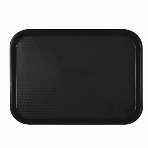 PLFFT1418BK- FAST FOOD TRAY, RECTANGULAR, PLASTIC, BLACK
