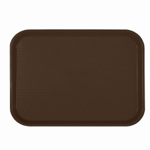 PLFFT1418BR- FAST FOOD TRAY, RECTANGULAR, PLASTIC, BROWN