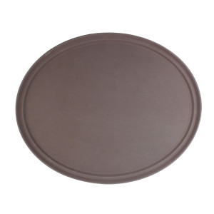 PLFT2700BR-OVAL TRAY, BROWN, FIBERGLASS